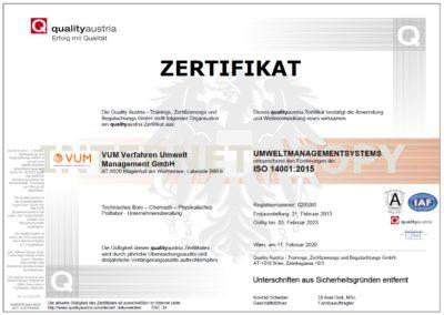 VUM - Zertifikat ISO 14001:2015 (qualityaustria)