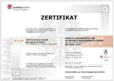 VUM - Zertifikat ISO 45001:2018 (qualityaustria)