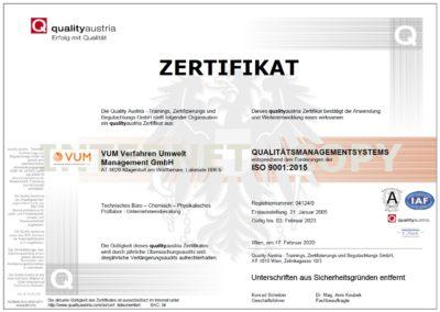 VUM - Zertifikat ISO 9001:2015 (qualityaustria)